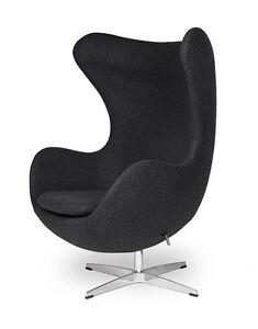 Egg Sessel In Dunkelgrau Dark Grey Egg Chair By Arne Jacobsen Ebay