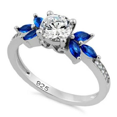 Flower Leaves Lucia` Sterling Silver 17 Blue Spinel Clear CZ Ring
