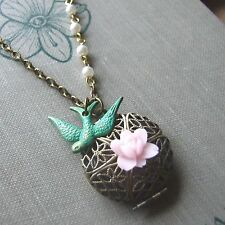 """GREEN WITH ENVY"" Vintage Swallow Bird Necklace with Locket and Pink Rose SWEET"