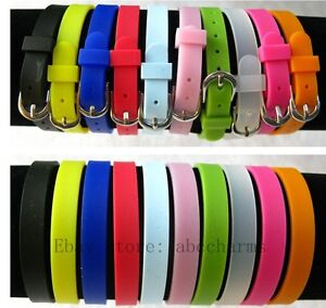 Image Is Loading 10pcs 8mm Silicone Slide Bracelet Wristband Charms Fit