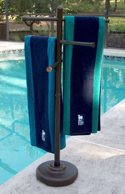 Portable Outdoor Towel Rack Spa Pool Hot Tub Swimming Towels Holder Stand  Bronze