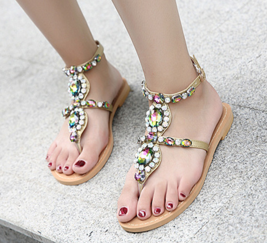 2019 Roman Womens Rhinestone Sandals Flip Flops Summer Beach Casual Flat shoes