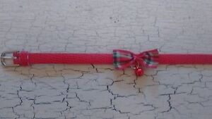 hand crafted red kitten collar with tartan bow - <span itemprop=availableAtOrFrom>Walsall, United Kingdom</span> - hand crafted red kitten collar with tartan bow - Walsall, United Kingdom