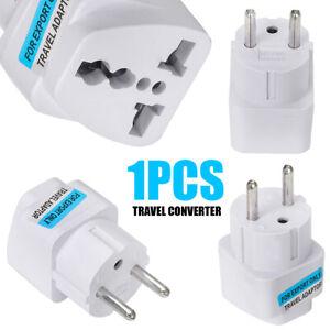 UK//US//AU to EU European AC Power Plug Travel Wall Adapter Converter In US