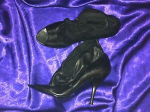 SEXY-NINE-WEST-BLACK-LEATHER-OPEN-TOE-BOOTS-SIZE-8-5-M-NEAR-NEW