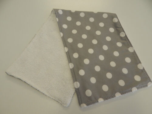 White Dots on Grey Burp Cloth Great Gift Idea!! 1 Only Toweling Back