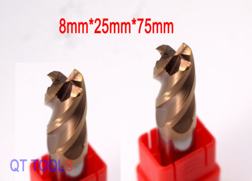 2Pcs 8MM Carbide End Mill Milling Cutter Drill Tool 4-Flute Length 75MM