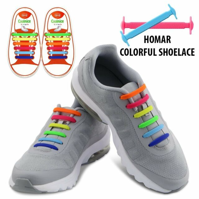 c60bc54b381d20 Homar Mix Color Elastic Athletic Flat No Tie Shoelaces Lacing System  Laceless