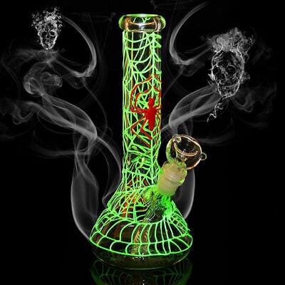 "Hookahs Collectibles Glow In Filiform Luminous Hookah Pipe Water Smoking Pipes Bongs Glass 10"""