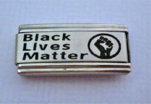 9mm Italian Charms Superlink  BLM L81 Black Lives Matter Fits Classic Size