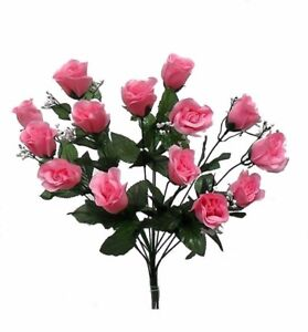 14 Roses PINK Long Stem Silk Flower Bush Wedding Bridal Bouquet DIY