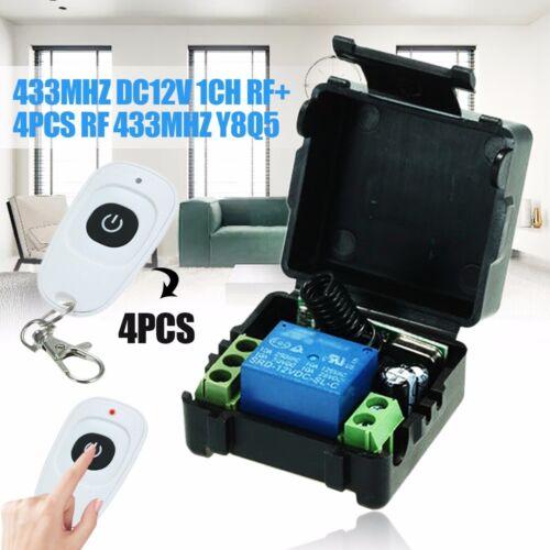 DE DC12V 433MHZ 1CH Receiver Board+4x RF Wireless Remote Controller 433MHZ Y8Q5