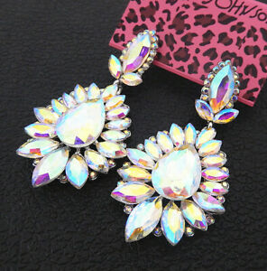 Women-039-s-AB-Crystal-Rhinestone-Flower-Betsey-Johnson-Stud-Dangle-Earrings
