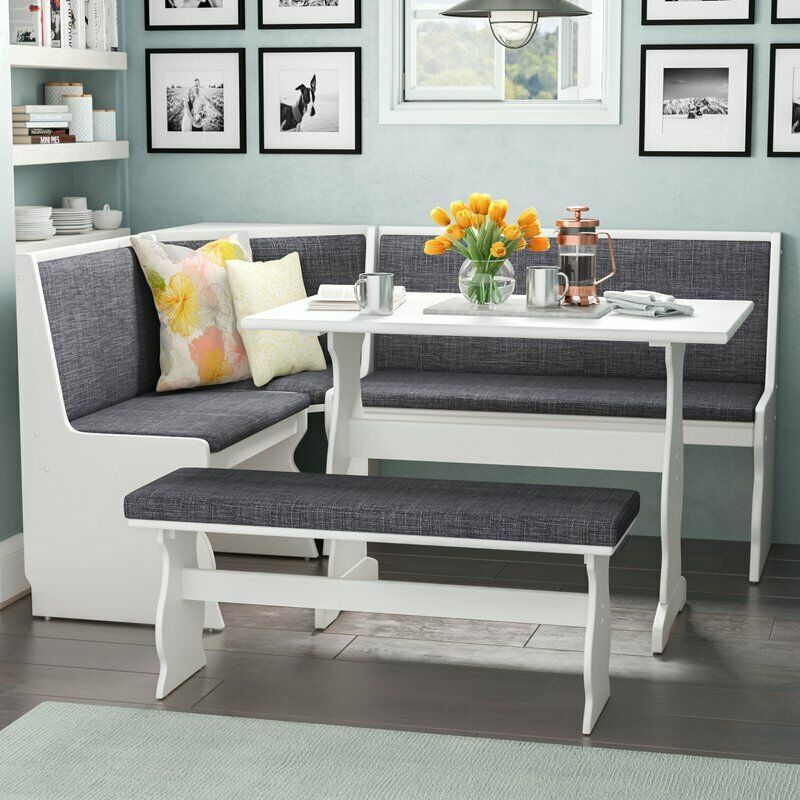 3 Pc Gray White Top Breakfast Nook Dining Set Corner Booth Bench Kitchen Table For Sale Online Ebay