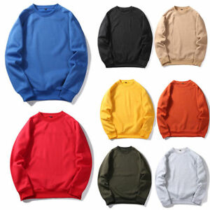 Mens-Womens-Heavy-Blend-Plain-Sweatshirt-Jersey-Jumper-Pullover-Tops-Crew-Neck