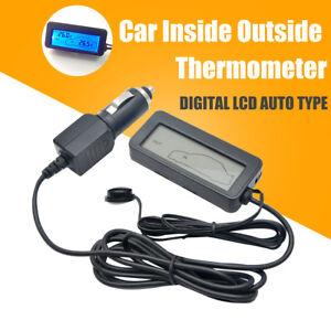 Termometro-de-coche-LCD-de-salida-de-Interior-Luz-De-Fondo-Azul-Negro