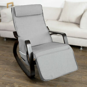 SoBuy Grey Padded Rocking Lounge Chair Armchair with Adjust Footrest,FST20-HG,UK 6900021367370