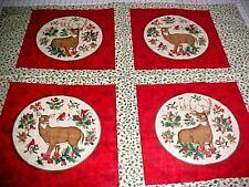 Fabric Cranston Christmas Quilt Pillow Panel Woodland Animals Cardinal Deer