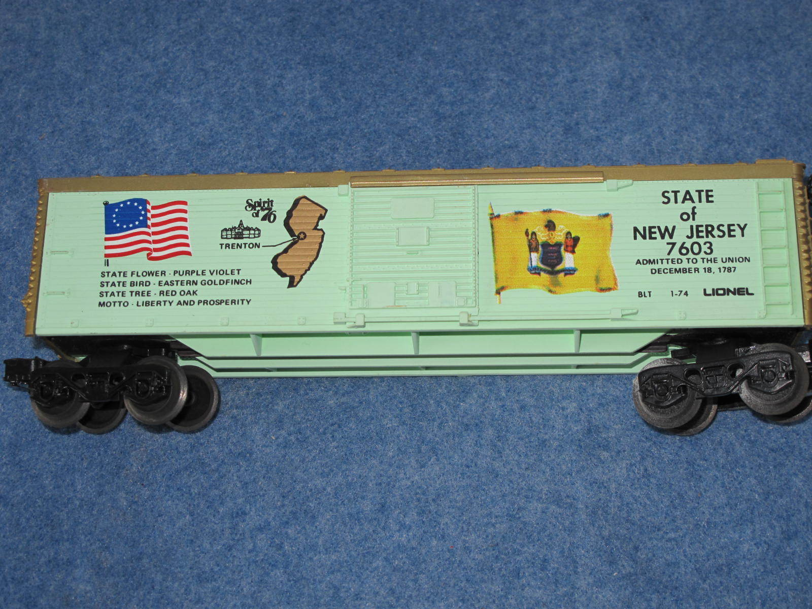 1974 Lionel 6-7603 State of Nuovo Jersey Spirit of '76 Box Car L2365