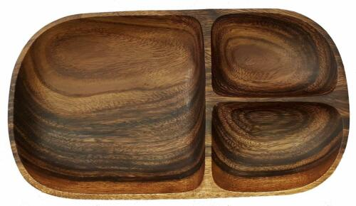SDS Acacia Wood Oval Tray 3 Compartments