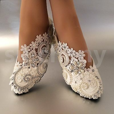 89911bc7f5c su.cheny White ivory pearls rhinestones lace flat Wedding shoes Bridal size  5-12 | eBay