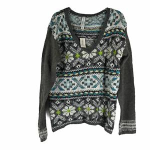 Aeropostale-Womens-Multicolor-Fair-Isle-Long-Sleeves-V-Neck-Sweater-Size-XL