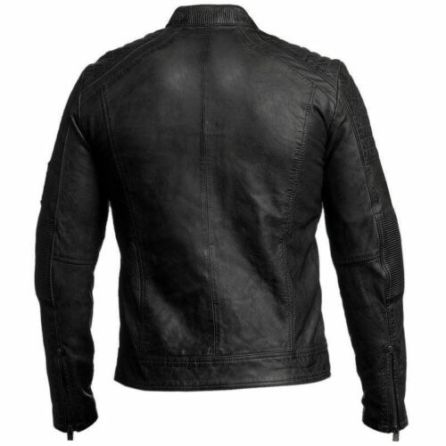 uomo in Moda Biker Style nera Racer Vintage Giacca pelle Bnwt Cafe Uqwd0Fq