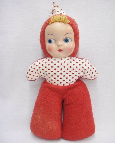 "Vintage Mask Face Doll Carnival Prize 17"" Plastic and Cloth Pixie Hood Red Dots"