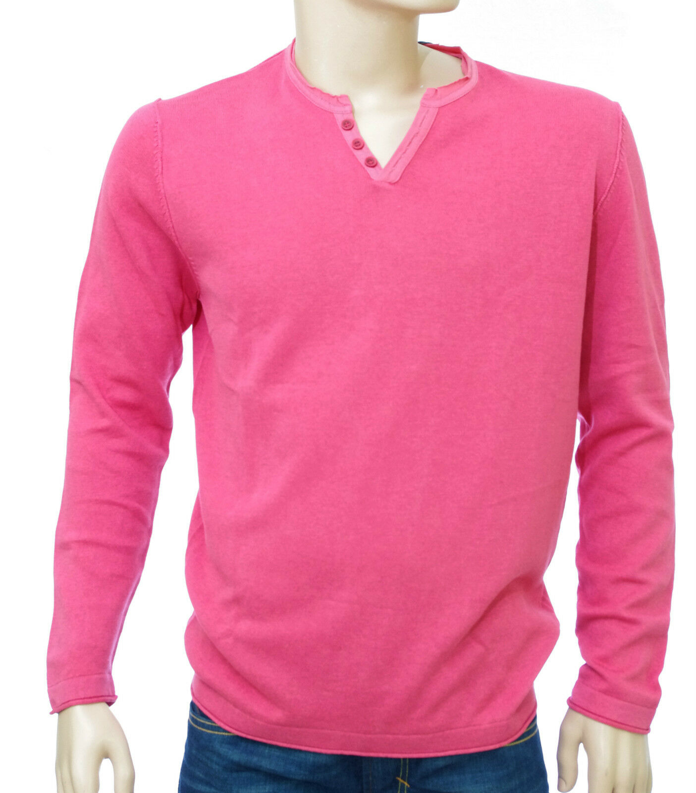 Pull col V rose lin coton HARRIS WILSON homme modèle Theo
