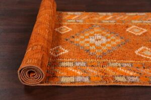 Antique Geometric Tribal 9 ft Orange Moroccan Wool Runner Rug 8' 6'' x 2' 8''