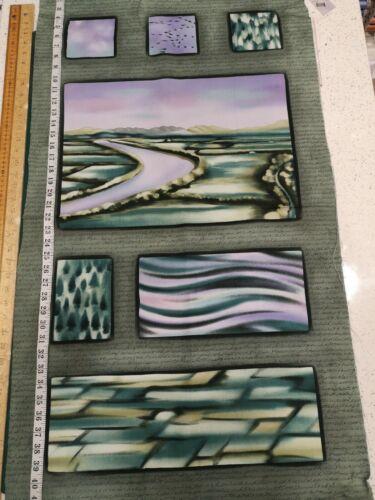 El cauce Verde Panel 1307 100/% Cotton Craft Quilting fabric