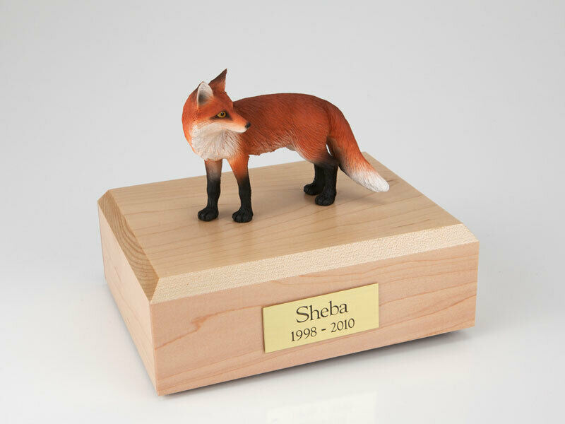 Fox Wildlife Figurine Funeral Pet Cremation Urn Available in 3 colors & 4 Sizes