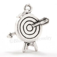 Archery Target Bow & Arrow Jewelry .925 Charm Pendant 925 Sterling Silver