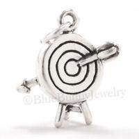 Archery Target Bow & Arrow Jewelry .925 Charm Pendant 925 Sterling Silver