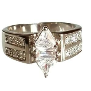 Solitaire Cocktail Ring Size  10 Silver Plated Cubic Zirconia NWT