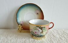 Antique Handpainted CT Altwasser Silesia Ornate Tea Cup And Saucer Roses Gold