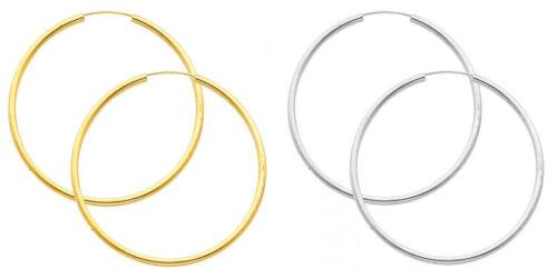 14k Yellow White Gold 2mm Thick High Polish Endless Hoop Earrings 55mm Diam Larg