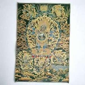"""36"""" Tibet Tibetische Tuch Seide 6 Arme Mahakala Zorn Deity Thangka Wandbild"""