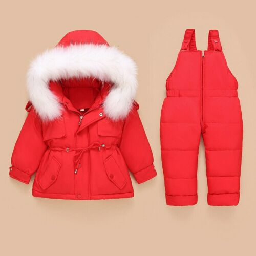 Snowsuit 2pcs Sets Hooded Thick Down Jacket Outerwear+Warm Toddler Suit Outdoor