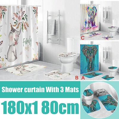 Shower Curtain 4Pcs Marble Type Bathroom Waterproof Rug Toilet Seat Bath Mat