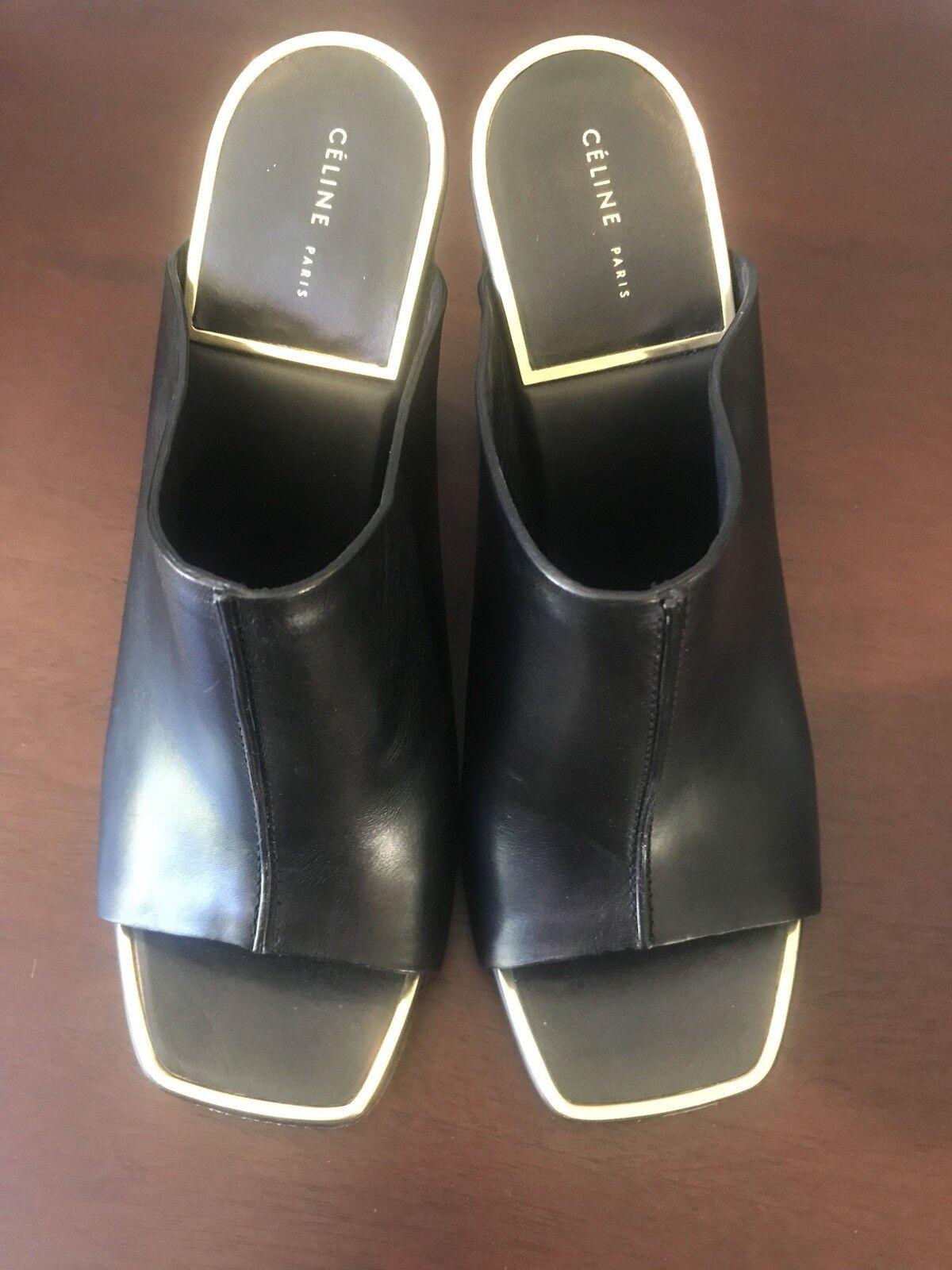 Celine Celine Celine mula cuero negro con adorno de oro-tamaño 37 7  contador genuino