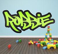 Personalised Graffiti Name Wall Sticker Mural Art Boys Girls Bedroom Full Colour
