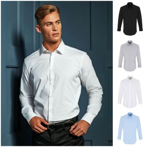Mens Stretch Fit Long Sleeve Shirt Business Work Smart Formal Casual Dress Shirt