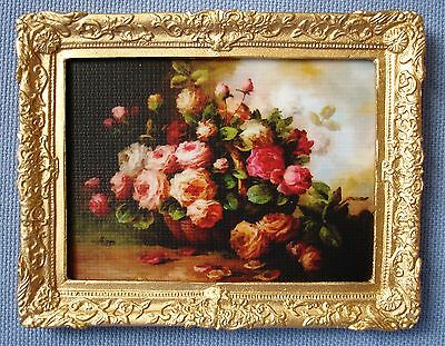 Dollhouse Miniature Roses Display Painting Picture