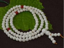 "Delicate Tibetan 108 6mm Tridacna Gemstone Prayer Beads Mala Necklace -26"""