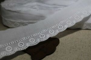 14Yds-Broderie-Anglaise-cotton-eyelet-lace-trim-3cm-white-YH742-laceking2013