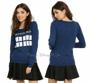 Doctor-Who-TARDIS-Police-Call-Box-Girls-Sweater-Juniors-M-Pullover-Knit-Top