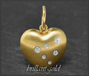 Brillant-Herz-Anhaenger-750-Gold-mit-0-15ct-Lupenrein-amp-River-D-Diamanten
