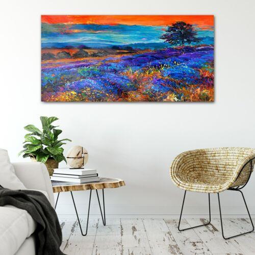 Print on Tempered Glass Sunset landscape lavender fields 50x30