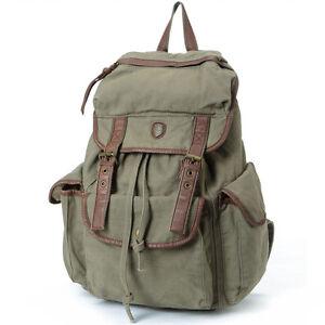 Image is loading Vintage-Waterproof-Canvas-Backpack-Rucksack -Travel-Bag-Satchel- bd8a57096b610